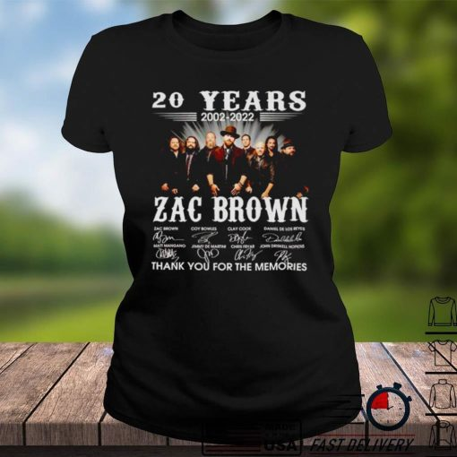 20 years 2002 2022 Zac Brown signatures thank you for the memories shirt