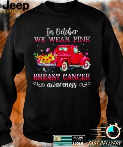 Cat In October we wear pink breast cancer awareness T shirt