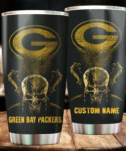 Green Bay Packers Skull Custom Name Tumbler Personalized Football Dinkware Customized NFL Cups