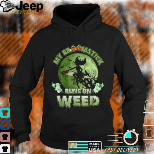 My Broomstick Runs On Weed Funny Halloween Witch Costume T Shirt 2