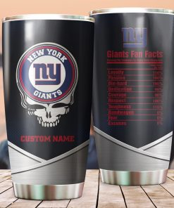 New York Giants Fan Facts Super Bowl Champions American NFL Football Team Logo Grateful Dead Skull Custom Name Personalized Tumbler Cup For Fans