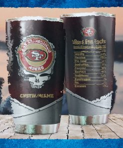 San Francisco 49ers Fan Facts Super Bowl Champions American NFL Football Team Logo Grateful Dead Skull Custom Name Personalized Tumbler Cup For Fanz