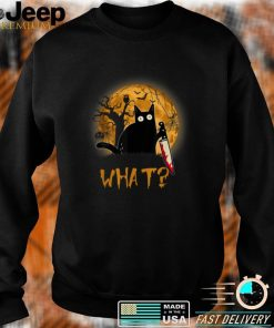 What Murderous Cat Holding Knife Scary Halloween Costume T Shirt
