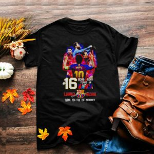 16 years of Barca 2005 2021 Lionel Messi thank you for the memories shirt