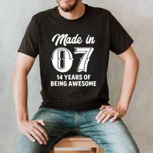 Fourteen Year Old 14th Birthday Awesome Born In 2007 Gift shirt